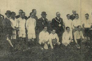 Some of the world's most famous jockeys and also locally famous rugby players who took part in a  major charity event at Crown Flatt in 1928, including Tommy Weston, pictured  kneeling on the front line holding ball.