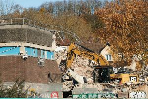 Going.. going... gone! The Spen pool, which stood since 1969 was knocked down this week