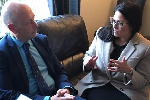 Home Secretary Priti Patel with Conservative candidate for Dewsbury, Mark Eastwood