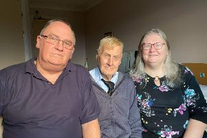 Siblings Steve Redfearn and Ann Parker with their dad Norman
