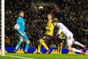 Patrick Bamford heads in Leeds United's winning goal against Millwall. Picture: Bruce Rollinson