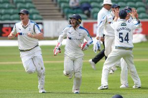 Yorkshire celebrate victory at Taunton.