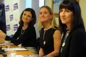 Jo Cox's sister Kim Leadbeater with MPs Rachel Reeves, right,  and Seema Kennedy, at the launch the long-awaited final report of the Jo Cox Loneliness Commission in December. Picture Tony Johnson.