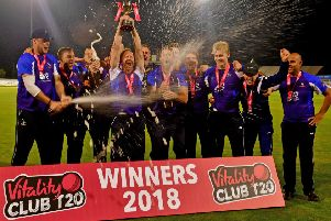 Hanging Heaton players celebrate their Vitality ECB National T20 success over Swardeston. Picture: Paul Butterfield