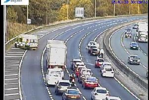 Tailbacks on the M62 near Chain Bar as emergency services respond to collision