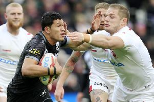 England's George Burgess tackles New Zealand's Dallin Watene-Zelezniak in the first Test in Hull. The England player has been cited for an incident involving the same player in the second Test at Liverpool. (SWPix)