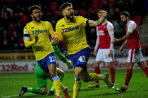 Mateusz Klich celebrates the first of his two goals for Leeds United at Rotherham. Picture: Simon Hulme