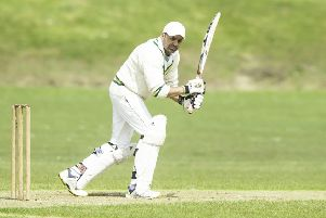 East Bierley opening batsman Arbaab Hussain on his way to 33 during last Saturday's Bradford League Championship One victory over Ossett at South View Road. Pictures: Allan McKenzie.