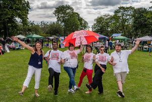 The Great Get Together - In Memory of Jo Cox, held at Green Park, Heckmondwike, 22.06.19. Pictured L-R Helen Horvath, Kirkwood Hospice, Bilal Almayalt, Tracey King, Parveen Butt, Theresa Redmond, and Adrian Cunningham, Kirkwood Hospice.