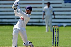 Gomersal batsman Liam Thomas made a crucial contribution of 37 as his side recorded a 28-run victory over promotion chasing East Bierley in Bradford League Championship One last Saturday. Picture: Paul Butterfield
