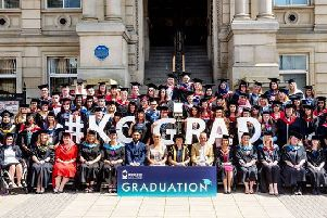 The class of 2019 Kirklees College graduates at Dewsbury Town Hall.