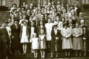Methodist group: A happy group of members of Thornhill Methodist Church pictured on the steps of the old Thornhill Methodist Chapel some years ago. We don't have the names of all of them, but here are the ones we do know: Margaret Woodhead, James Ernest Hibbert, Mary Lee, Mary Pearce, Kenneth Brook, Joan Halstead, Milton Halstead, Sidney Bolton, John Thomas Hampshire, Margaret Bretton, Herbert Hibbert, Corina Hibbert and Doris Woodhead.