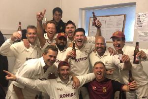 Woodlands CC celebrate winning the Bradford Premier League title 2019.