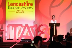 Rachel McQueen, chief executive of Marketing Lancashire, presents last year's Lancashire Tourism Awards