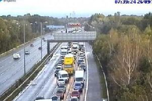 Diversions are in place on the M56 on the approach to Manchester Airport after a serious multi-vehicle crash this morning