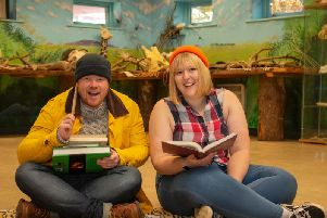 Knowsley Safaris team get into character to tell fishing and forestry stories from The Chronicles of Conservation.