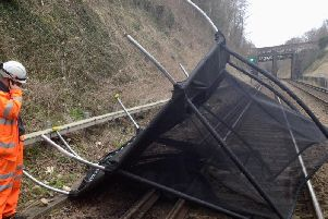 Trampoline blown on to the West Coast Main Line
