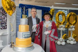 Stoves celebrates 100 years with MD Mark Davison pictured with Mayor of Knowsley Councillor Jackie Harris