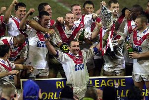 St Helen's celebrate after beating the Brisbane Broncos in 2001. Picture: SWPix