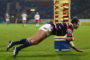 Adrian Morley during his Sydney days dives over to score a try in the World Club Challenge against Saints at Bolton in 2003