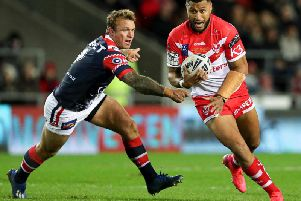 Dom Peyroux takes on Jake Friend of the Sydney Roosters. Picture: SWpix
