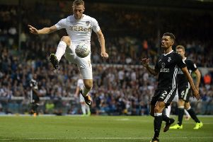Chris Wood controls a high ball.'Leeds United v Fulham FC.  SkyBet Championship.  Elland Road.  '15 August 2017.  Picture Bruce Rollinson