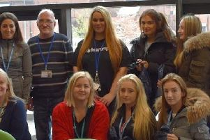 Students from the health and social care course, who took part in the Teardrops' rough sleeper initiative