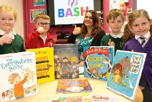 Youngsters who took part in the BASH 5+ awards with Liverpool-based author and illustrator Helen Poole