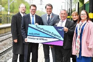 Dignitaries welcome the new services at Newton-le-Willows station