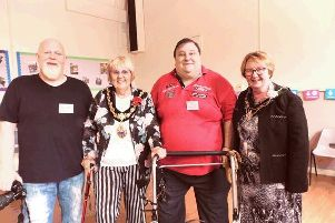 Chris Charles and John Richards, from the Wargrave Boys Club, pictured with the Mayor and Mayoress of St Helens, Couns Pat Ireland and Lynn Glover