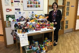 The food bank donation point at Hollins Park Hospital in Warrington