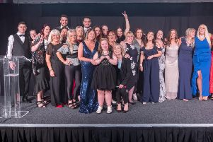 Samantha Brennan and her team in the North West collected the Region of the Year accolade at the 2019 Community Integrated Care We Dare Awards from TV star Fiona Phillips.