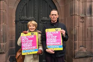 Unite against Fascism and Stand up to Racism campaigners have been on the streets of St Helens today