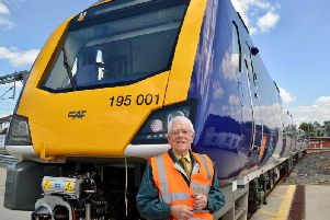 Russell Parsons in front of new Northern CAF train