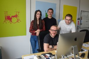 The Courage Creative team  l-r standing Layla Ferdowsian, Scott Foreman and Ron Binningsly and seated Tim Murphy
