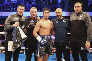 Josh Kelly and his winning team.  All pictures by Lawerence Lustig/Matchroom Ringside photos and Mark Robinson/Matchroom Backstage photography.