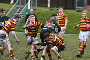 Sunderland RFC (red/yellow/black) take on Acklam at Ashbrooke last weekend. Picture by Kevin Brady