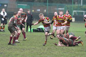 Sunderland (red/yellow/black) attack against Newton Aycliffe at Ashbrooke last weekend. Picture by Kevin Brady