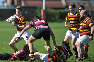 Sunderland (red/yellow) attack against  Whitby at Hill View on Saturday. Picture by Tim Richardson