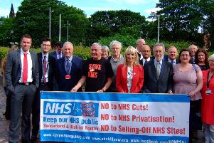 Councillors and campaigners ahead of the meeting at the Civic Centre.