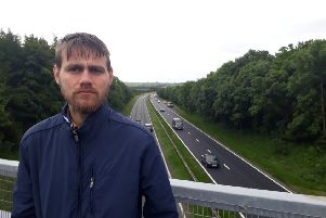 Lib Dem Councillor Stephen O'Brien at the A19 between Hastings Hill and Herrington in Sunderland.