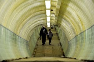 Inside the pedestrian tunnel. Picture by PA