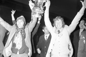 Two Sunderland legends, Ian Porterfield and Jimmy Montgomery, with the FA Cup after the 1-0 win over Leeds United at Wembley in 1973.