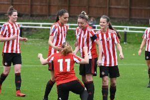 Sunderland Ladies (red/white) v Nottingham Forest Ladies (gold) at Eppleton CW, Hetton, on Sunday.