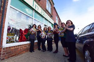Staff from In Bloom and Cutz Hair and Beauty in Seaside Lane, Easington Clliery, who are fully supporting X factor Molly Scott.