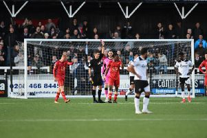 Peter Kioso is sent off at Bromley on Saturday.