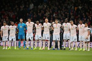 Manchester United players observe a minute's silence for Armistice Day, with Nemanja Matic deciding not to wear a poppy on his shirt.