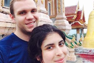 Matthew Hedges with his wife Daniela Tejada. The British academic accused of spying in the United Arab Emirates. Pic by PA.