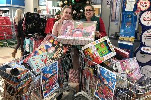 Trish Hownam, Morrisons in Doxford Park, with Shannon Crowder, Hope 4 Kidz.