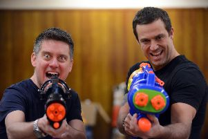 Sunderland Empire's Peter Pan rehearsals. From left Richard McCourt as Smee and Jamie Lomas as Hook and Mr Darling.